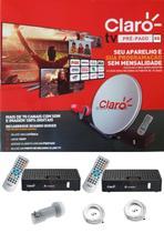 Kit Claro Tv Pré-Pago SD Mercantil 2 Receptores Digital + Antena 60 cm - Visiontec