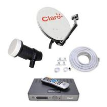 kit Claro Tv Pre Pago Visiontec Antena 60cm 17m Cabos -
