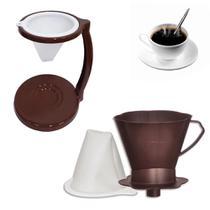Kit Coador para Cafe com Suporte e Filtro Marrom em Plastico  Injetemp -
