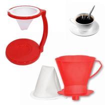 Kit Coador para Cafe com Suporte e Filtro Vermelho em Plastico  Injetemp -