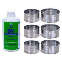 Kit Coalho Líquido Bv 1 Litro Com 6 Formas Inox 500g E 1kg -