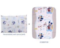 Kit cobertor+travesseiro anti-sufocante mickey e minnie minasrey presente para bebê -