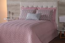 Kit cobre leito casal padrão 7 peças chevron rosê - R&A DECORA CASA