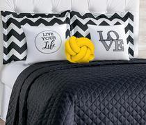 Kit cobre leito casal padrão 8 peças isabela - nó amarelo - M&C ENXOVAIS