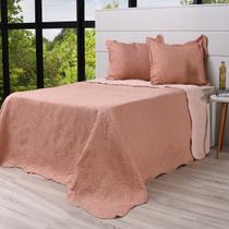Kit Cobre Leito Casal + Porta Travesseiros Rolinho Rosa Antigo - Bene Casa -