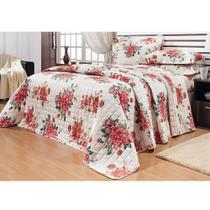 3c550b4892 Kit Cobre Leito Casal Queen 03 Peças Versátil Floral Vermelho - Bernadete  Casa