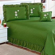 Kit Cobre Leito Eva Queen Verde Musgo 5 Peças com Travesseiros - Aquarela Enxovais -