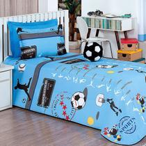 Kit Cobre Leito Infantil Futebol Menino Azul 4 Peças 100% Algodão com Almofada Bola Decorativa - Moda Casa Enxovais