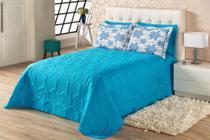 kit cobre leito sedução quarto casal 3 peças  azul turquesa - Aquarela