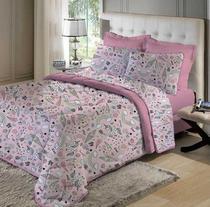 Kit Cobreleito Queen com Porta travesseiros de Malha 100% algodão Unicórnio Rosa - Edromania
