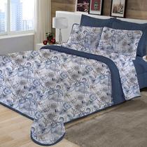 Kit Cobreleito Solteiro com Porta Travesseiro de Malha 100% algodão Edromania Azul Ocean -