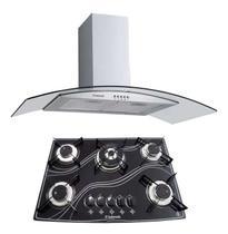 Kit Coifa Gourmet 90Cm + Cooktop 5Q Tripla Chama Safanelli -