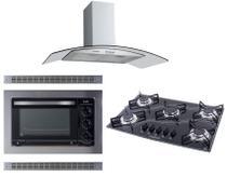 Kit Coifa Gourmet 90Cm Forno Embutir Cooktop Colors Safanelli -