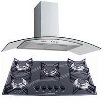 Kit Coifa Gourmet Inox 90Cm e Cooktop 5Q Preto Safanelli -