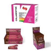 Kit Colagentek 30 sachês sortidos Vitafor, Choc Boa Forma Hibisco com Morango  e Choc Loov Ao Leite Chocolife - Vitafor E Chocolife