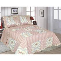 Kit Colcha Cobre Leito Patchwork Casal Ary Realce Top -