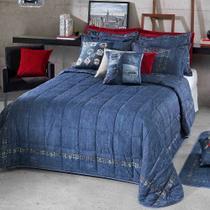 e16da50a75 Kit Colcha   Cobre Leito Solteiro Estampa Jeans Versatile - Hedrons