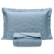 Kit Colcha Solteiro Sleep c/ elástico 2pcs Malha Algodão Azul Jeans - BOUTON