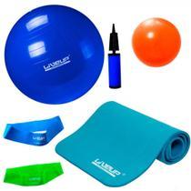 Kit Colchonete + Bola 65 Cm e Mini Bomba + 2 Mini Bands + Overball 25cm  Liveup -