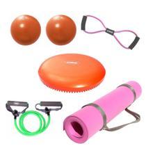 Kit Colchonete Rosa + 2 Overball + Extensor em 8 + Extensor 1 Via Medio + Disco de Equilibrio  Mandiali -