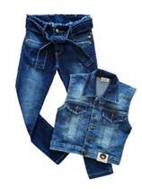 kit colete jeans + calça infantil menina com elastano Tam 4 ao 8 anos. - Jr Kids