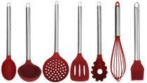 Kit colher silicone cabo inox cozinha jogo 7 peças - YAZI