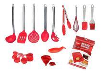 Kit Colheres de Silicone e Utensílios De Cozinha Práticos vermelho 13pçs - Csp