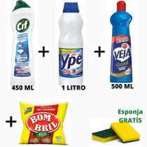 Kit com 01 Veja Multiuso 500 Ml + 01 Cif Cremoso 500ml + 01 Esponja de Aço BomBril 60g+ 01 Litro Agua Sanitária Ype -