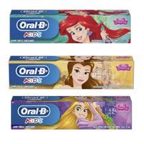 Kit com 03 Creme Dental Pasta Oral-B Princesas Disney -