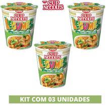 Kit com 03 Cup Noodles Legumes c/ Azeite 69g Macarrão Nissin Instantâneo -