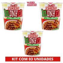 Kit com 03 Cup Noodles Macarrão Nissin instantâneo Sabor Bolonhesa -