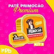 Kit com 03 Petisco Cão Úmido Primocao Adulto Patê carne 300g - Primocão