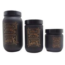 Kit com 03 Potes De Vidro Redondo Kitchen Love Com Tampa De Plástico 1L 660ml 425Ml - Satyam