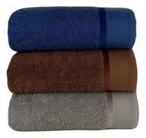 Kit Com 03 Toalhas De Banho Gigante / Banhão - Eleganz -Azul/Marrom/Cinza-75x150cm- LMpeter -