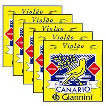 Kit Com 05 Jogos De Cordas Canário Para Violão Nylon Giannini -