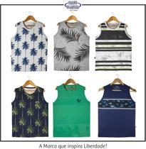 kit com 06 Camisetas Regatas infantil e juvenil - Lindas - Base D'Água-Surf Wear