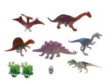 Kit com 06 dinossauros de brinquedo em miniatura pura diversão - Elite