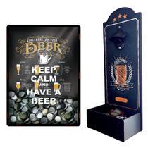 Kit com 1 Abridor de Garrafas Best Beer + 1 Porta Tampinha Copos - cod. 2761 + 2582 - Cia. Laser
