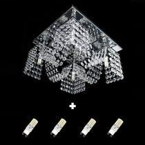 Kit Com 1 Lustre Cristal Legitimo Plafon Quadrado 30x30x15cm - Jp-Toyota-M4-30 + 4 Lâmpadas G9 Branco Frio 110v - Hunter