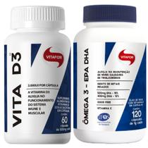 Kit com 1 x ômega 3 epa dha 120 cápsulas + 1 x vita d3 60 cápsulas - vitafor -