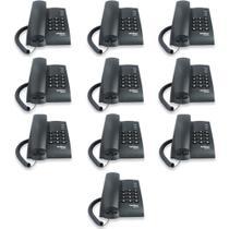 Kit com 10 Aparelho Telefone Com Fio Intelbras Pleno Preto -