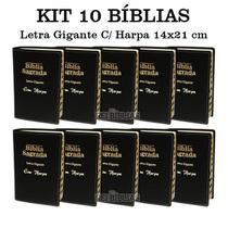 KIT com 10 Bíblias Sagrada Letra Gigante - Luxo - Preta C/ Harpa Cristã - ATACADO - Rei Das Biblias