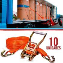 Kit Com 10 Catraca + 10 Cinta Amarração 1,5 Toneladas 9 Metros Rabicho Caminhão Carga - Robustec