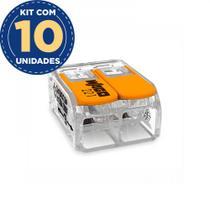 Kit Com 10 Conector De Emenda 2 Polos 0,08A 4,0mm 32a 221-412 Wago -