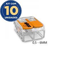 Kit Com 10 Conector De Emenda 2 Polos 1,0A 6,0mm 41a 221-612 Wago -