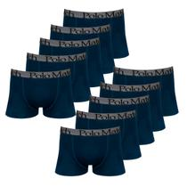 Kit com 10 Cuecas Boxer de Cotton Marinho Elástico Bordado - Polo Match