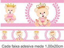 KIT COM 10 FAIXAS ADESIVAS 1,00X20cm - URSINHA PRINCESA ROSA (BORDER) PARA QUARTO DO BEBÊ - Gráfica Sublime