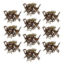 Kit com 10 Jogos de Mesa 70x70 Com 4 Cadeiras Dobráveis Cada Imbuia - Top Madeira - Top Madeiras