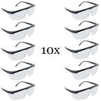 Kit com 10 Óculos Proteção Segurança Epi Incolor Jaguar - Kalipso
