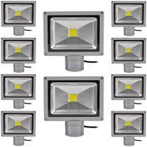 Kit Com 10 Pecas - Holofote Refletor Super Led 20w Com Sensor De Movimento E Presenca Branco Frio Bivolt - A Prova Dagu - Powerxl
